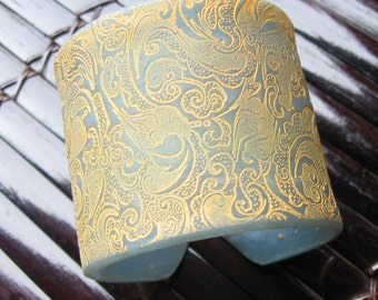 SALE Light Blue Translucent Cuff Bracelet Asian Ornate Design, Handmade Jewelry by theshagbag on Etsy