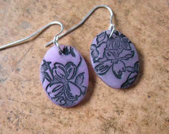 SALE Lavender earrings Asian style floral minis, handmade jewelry by theshagbag on Etsy