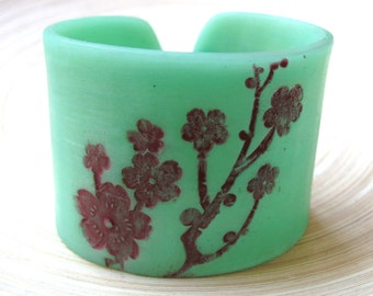 SALE Jade Style Cuff Bracelet Asian Floral Blossoms, Handmade Jade Jewelry by theshagbag on Etsy