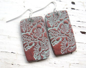 SALE Copper patina earrings Asian cherry blossom, handmade jewery by theshagbag on Etsy