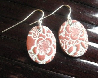 SALE Copper earrings Asian floral minis, handmade jewelry by theshagbag on Etsy