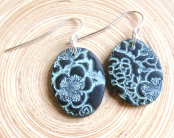 SALE Black earrings Asian floral minis, handmade jewelry by theshagbag on Etsy