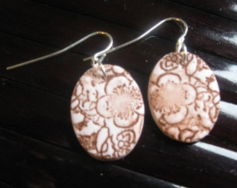 SALE Ivory earrings Asian floral minis, handmade jewelry by theshagbag on Etsy