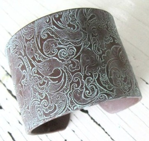 SALE Cuff Bracelet, Beautiful Brown, Ornate Asian Design, Handmade Cuffs by theshagbag on Etsy