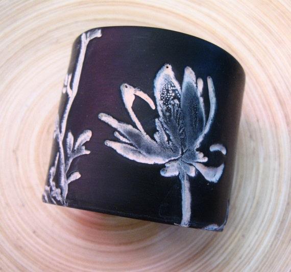 SALE Black Cuff Bracelet Asian Magnolia Design, Handmade Jewelry by theshagbag on Etsy
