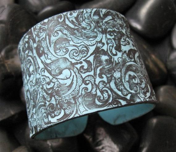 CIJ SALE Turquoise Blue Cuff Bracelet Asian Ornate Black Design, Handmade jewelry by theshagbag on Etsy
