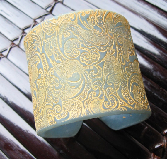 S A L E  Light Blue Translucent Cuff Bracelet  Asian Ornate Design, Handmade  Jewelry by theshagbag on Etsy