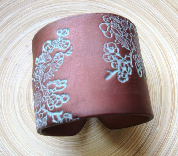 SALE Dark Copper, Bronze Wide Cuff Bracelet Patina Asian Floral, Handmade Jewelry by theshagbag on Etsy