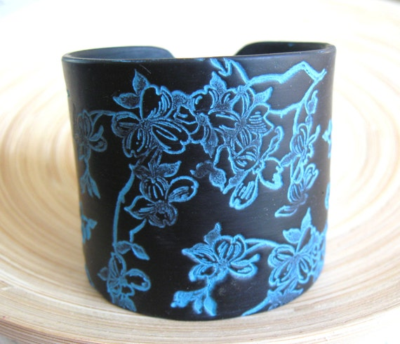 SALE Black Cuff Bracelet Turquoise Asian Dogwood, Handmade Jewelry by theshagbag on Etsy