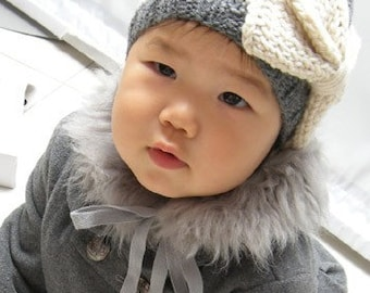 PDF Knitting pattern - BABY and Child Size Vintage looking bow hat - Digital PDF download