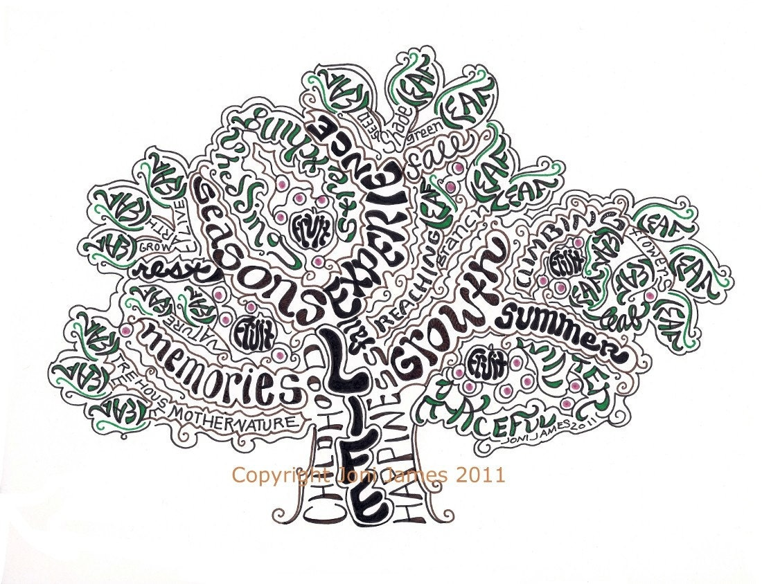 Hand Drawn Word Art Tree of Life Art Print Tree by CalligramORama