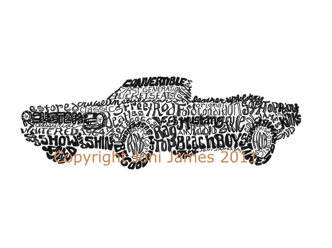 1964 ford mustang calligraphy word art old by calligramorama