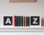 A & Z bookends made from atlas index book pages