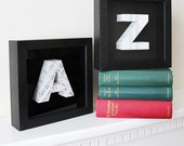 Words and Music - A and Z framed original paper sculpture bookends