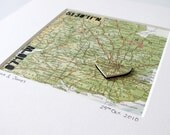 Customised Papercut Map with heart and coordinates - personalised