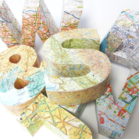 Large 3D map letter of anywhere in the world. 11 Diy-able Ideas For Using Maps and Mod Podge. Simplicity In The South.
