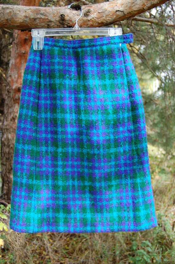 Vintage Made in the Republic of Ireland Aqua Plaid Skirt