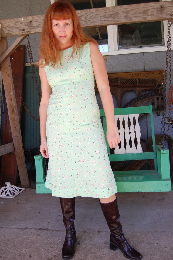 Vintage 60s 70s Mint Green Dress with Flocked Flowers