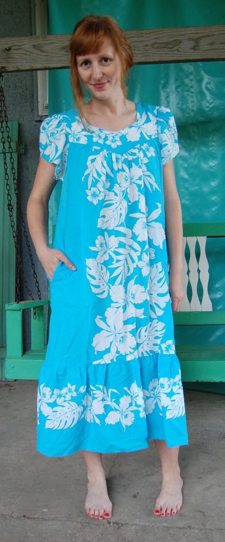 Vintage Aqua Hawaiian Dress