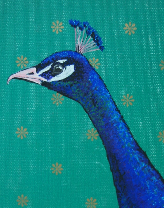 Original Peacock Painting on a Vintage Book Cover
