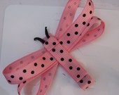 Pink and Brown Polka-Dot Dragon Fly Hair Clip