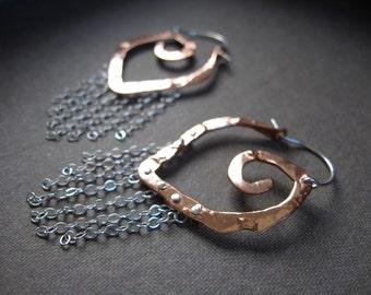 Hoop Sale Mini Point chain fringe in Copper  or Bronze E013-XS