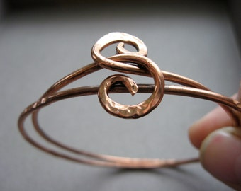 Double Swirl Bangle in Copper  or bronze