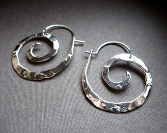 Mini Sterling Silver Nautilus Hoop  Earrings