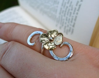 Itty Bitty Blossom in Copper or Bronze on Adjustable Sterling Vine Ring