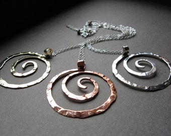 Large Rugged Spiral Pendant Necklace in Copper, Bronze or Sterling Silver N025-L