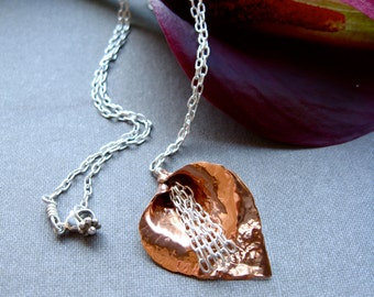 Sm Waterfall Lily Pendant Necklace in Copper - N056 or Bronze - N057