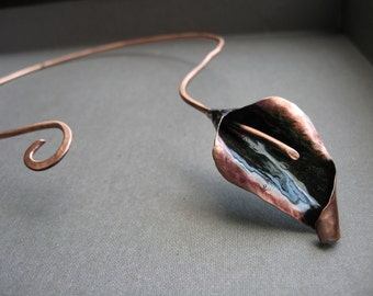 Single Curled lily collar in patina copper or bronze