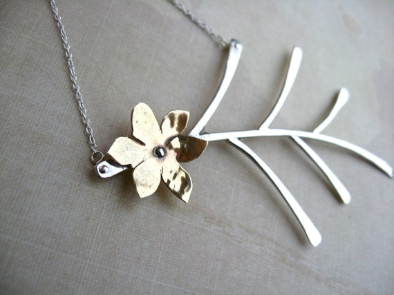 Medium Fern Necklace in Sterling Silver - N018 with Sweet Little Blossom in Copper or Bronze