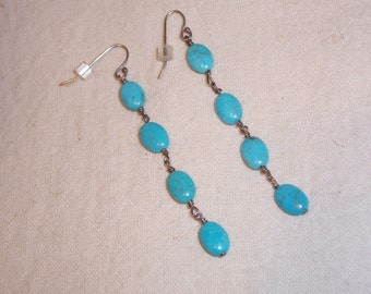 Handmade Turquoise and Sterling Silver Pierced Earrings