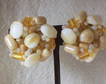 Vintage Earrings with Glass Beads - Clip Ons