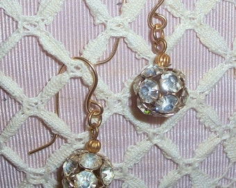 Handmade Rhinestone Ball Earrings with Gold Filled Earwires