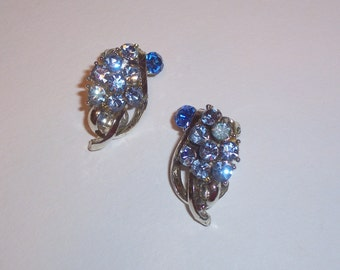 Vintage Earrings with Shades of Blue Rhinestones - Clip Ons