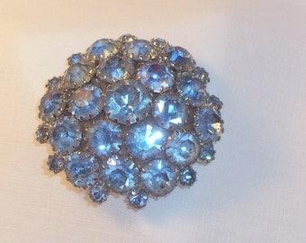 Light Blue Vintage Rhinestone Brooch or Pin