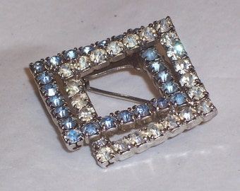 Vintage Rhinestone Pin in Blue and Crystal