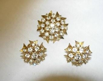 Vintage Rhinestone Earrings and Brooch Pendant