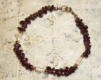 Handmade Garnet and Freshwater Pearl Bracelet