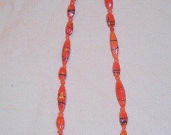 Handmade Orange Glass Bead Necklace - 1950s Glass Beads