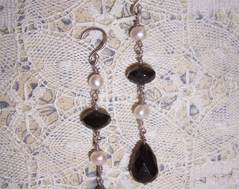 Handmade Earrings of Freshwater Pearl and Black Onyx -  Homage to Erwin Pearl