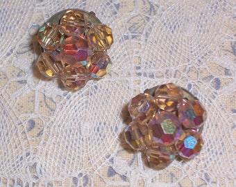 Vintage Earrings  -  Aurorea Borealis Crystal Beads - Clip Ons
