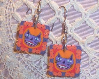 Ghoulish Cat Earrings - Pierced