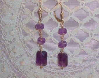 Handmade Amethyst Earrings With Gold Filled Ear Wires and Wire Wrapped