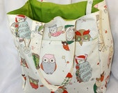 It's a Hoot in Natural Canvas Market Tote- Ready to Ship