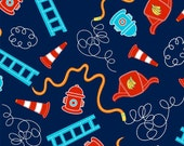 Off to the Rescue Allover in Navy by Newcastle Fabrics - 1.5 Yards reserved for RagainDesigns