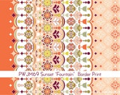 Grand Hotel Fountain Border Print in Sunset by Jenean Morrison for Free Spirit - 1 Yard