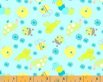 Sale - Scribbles All Over Bugs in Blue by Foliage for Windham Fabrics - 1 Yard
